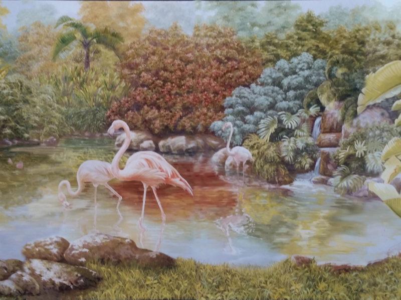 """Veduta """"Laguna"""" Residenza Reale Skhirat Marocco Tecnica mista. Colorazione ad acrilico su tela. Mq 60"""