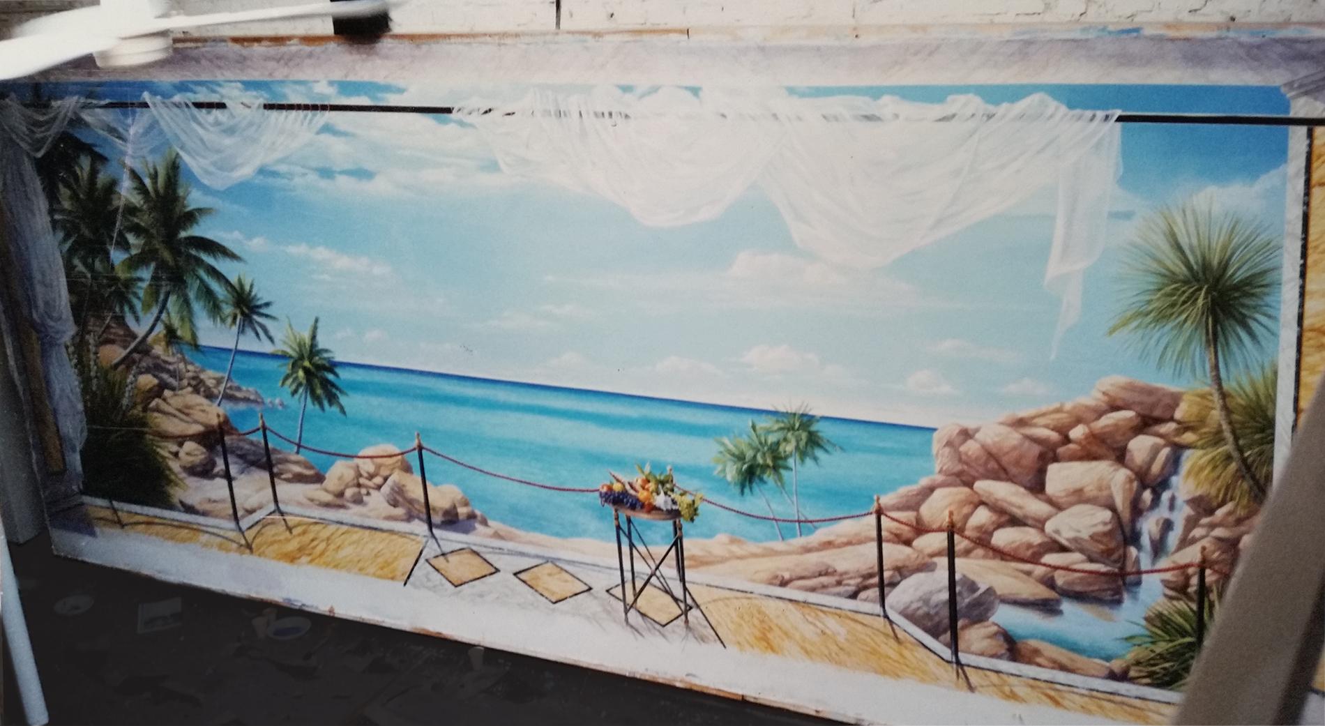 """Veduta """"Oceano"""" Residenza Reale Skhirat Marocco Tecnica mista. Colorazione ad acrilico su tela. Cm 700x280"""