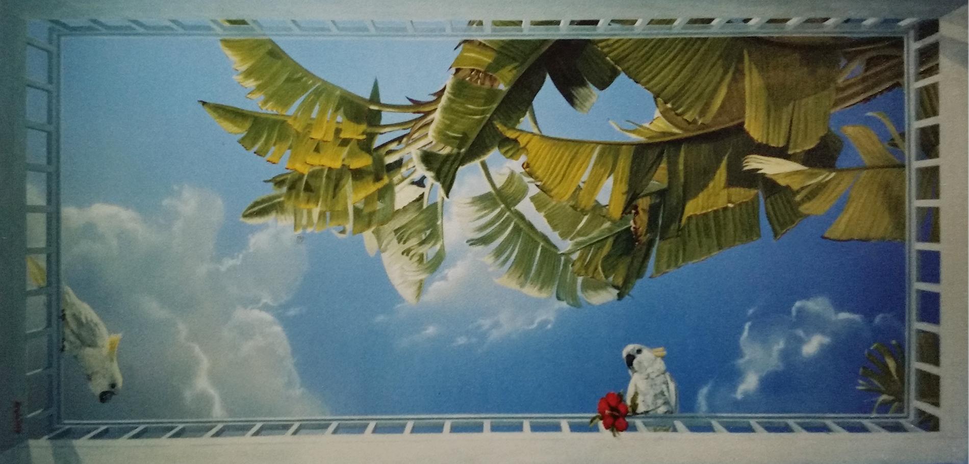 Soffiti con pappagalli Casablanca Marocco Acrilico su tela Mq 12
