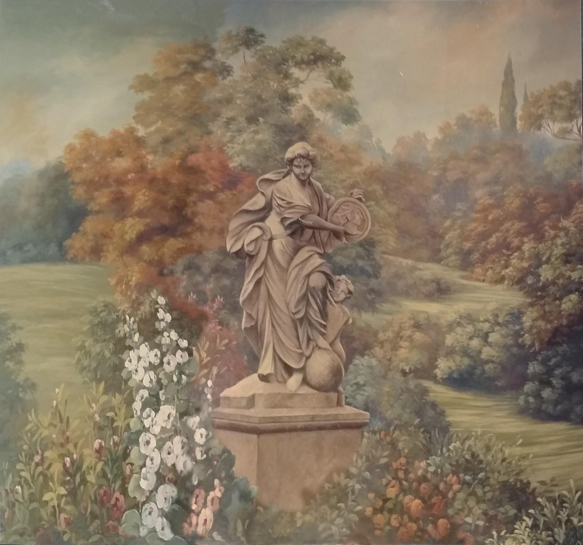 """"""" Giardino con statua"""" Showroom Lugano Svizzera Tecnica mista. Colorazione ad acrilico su tela. Mq 20"""