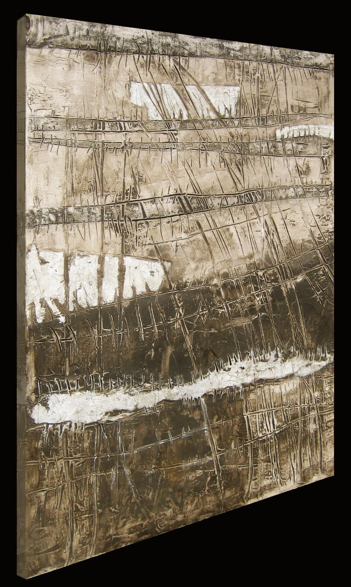 Trame Collezione privata Tecnica mista. Gesso graffito su tela. Colorazione con pigmenti e colore ad olio. Cm 70 x100