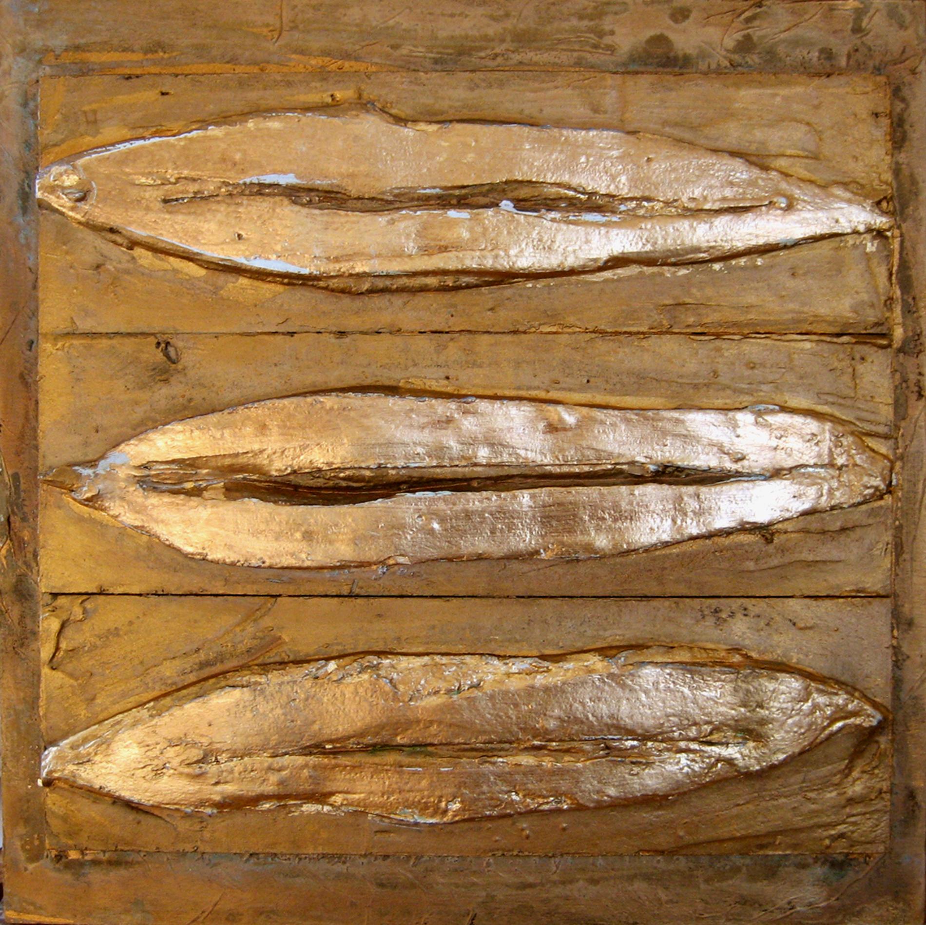 Trittico Piastre Bocche 2012 Collezione privata Italia Gesso modellato su multistrato. Colorazione con oro Cm 180x60