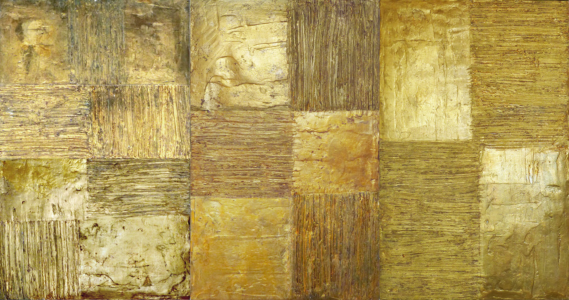 Trittico oro 2013 Residenza private Gesso modellato su multistrato. Colorazione oro. 60x80 cad