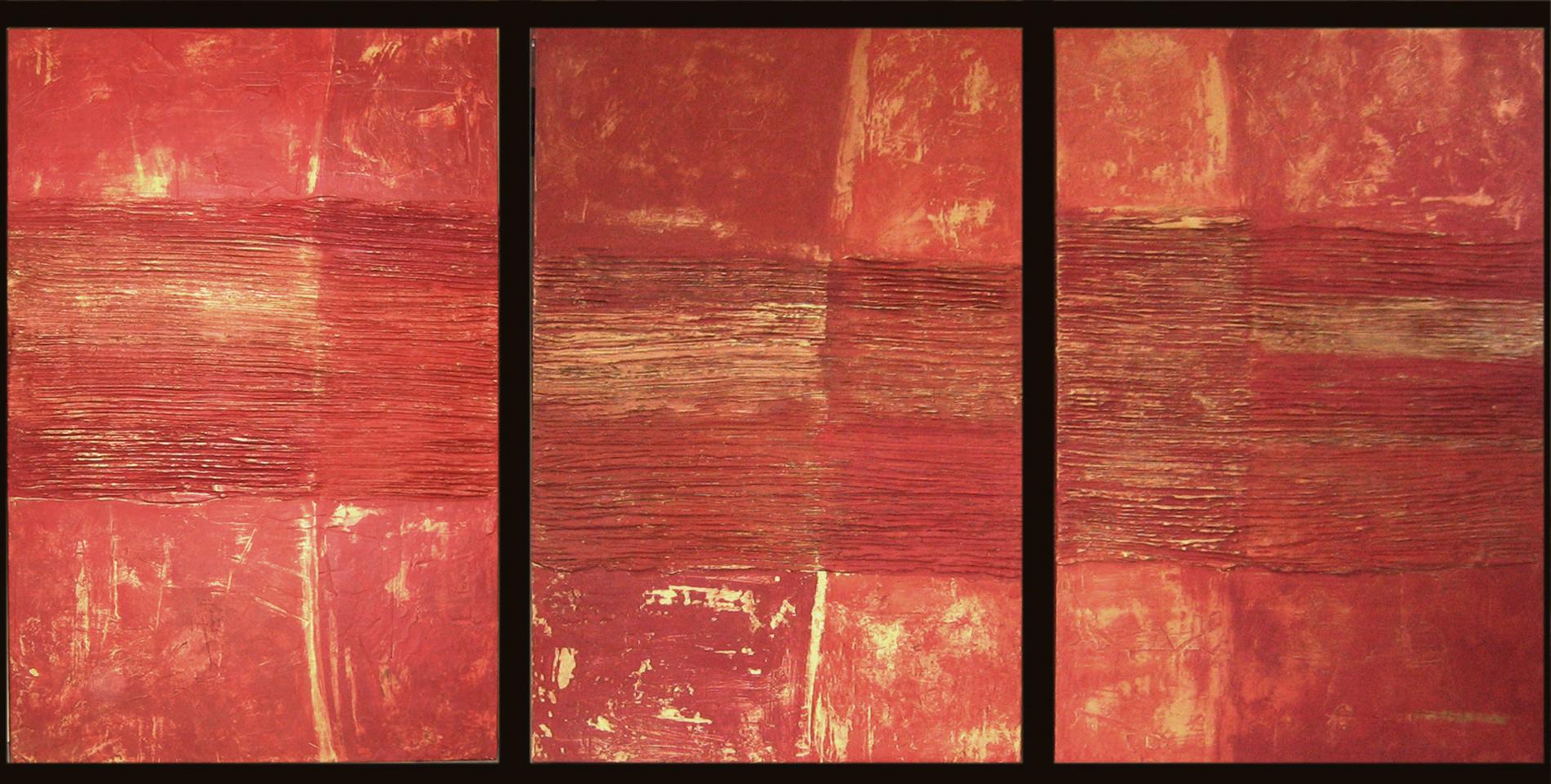 archetipo, astrazione,red, collage, culto della Madre Terra, culto di Gaia, culto di Maia, dipinto con pigmenti su carta di riso, dipinto con pigmenti su gesso, dipinto con pigmenti su tela, doratura, foglia d'oro, Graffiti, Pigmenti, trittico, sedimentazioni, tecnica mista, texture 2012 Hall Piscine Foro Italico Roma Tecnica mista. Colorazione con pigmenti. Mq 10