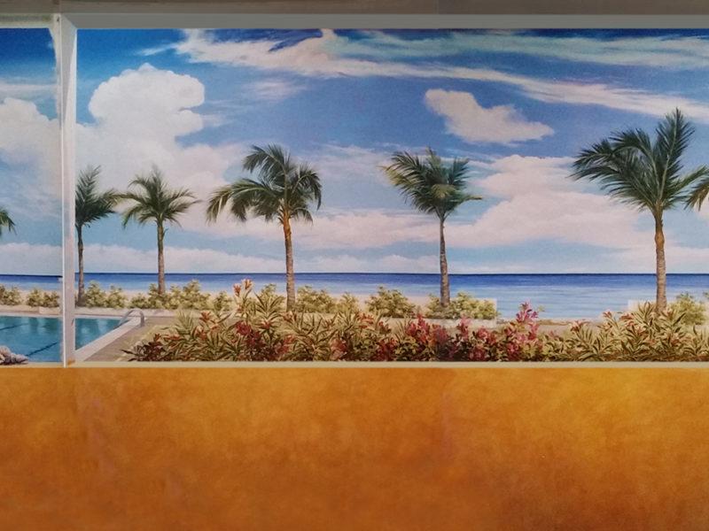 """trompe l'oeil """" piscina"""", trompe l'oeil per agenzia turistica, acrilico su tela, acrilico su tela, trompe l'oeil per alberghi, trompe l'oeil per ristoranti, trompe l'oeil con palme, trompe l'oeil con palme e piscina, trompe l'oeil con piscina mare e palmeto, trompe l'oeil decorato con palme e piscina, trompe l'oeil per showroom, trompe l'oeil su parete, trompe l'oeil su tela incollata al muro, veduta con piscina e palme, trompe l'oeil tropicale"""