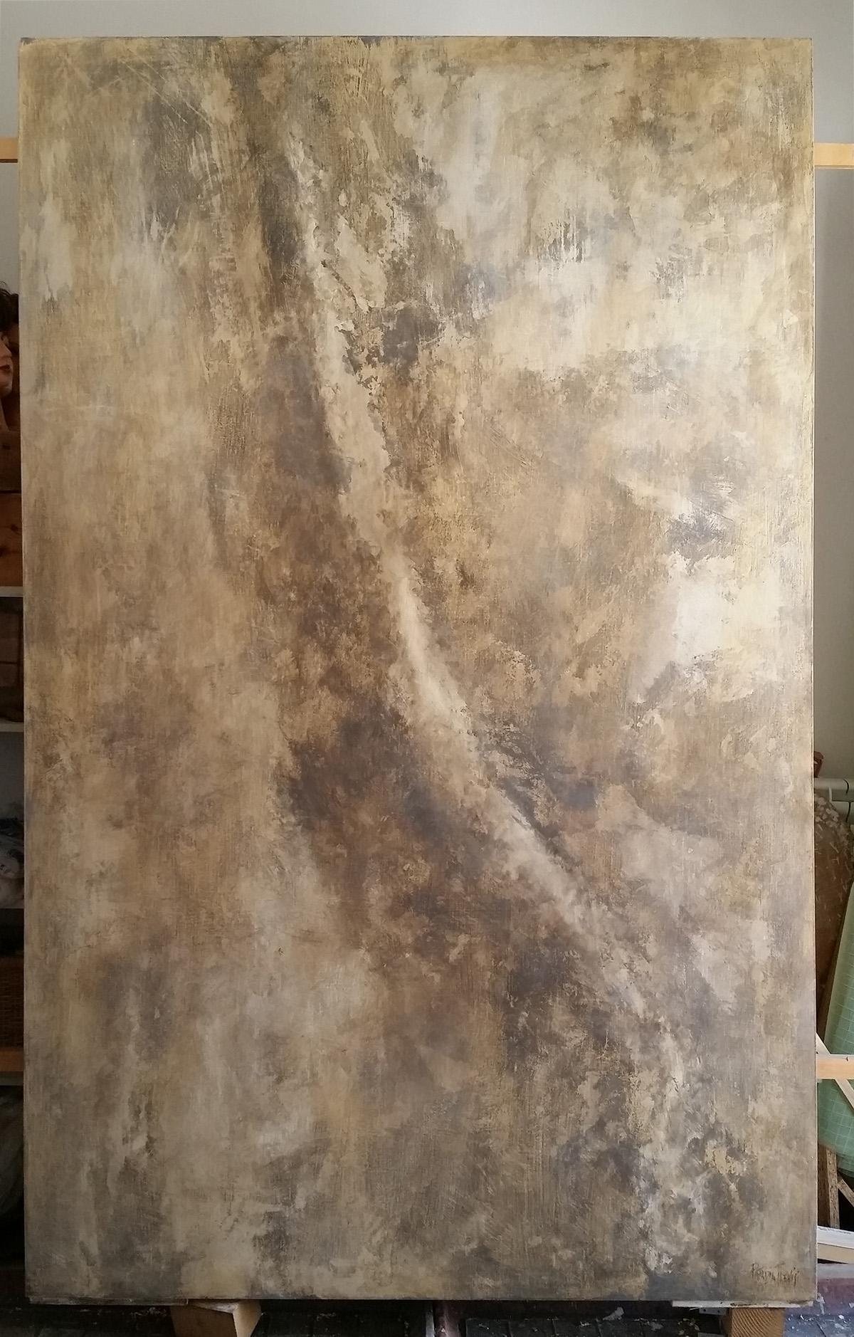 Quadro Bifacciale Gray and Brown. 2018 Collezione privata. Tecnica mista. Colorazione con pigmenti su tavola. Cm 200x 240