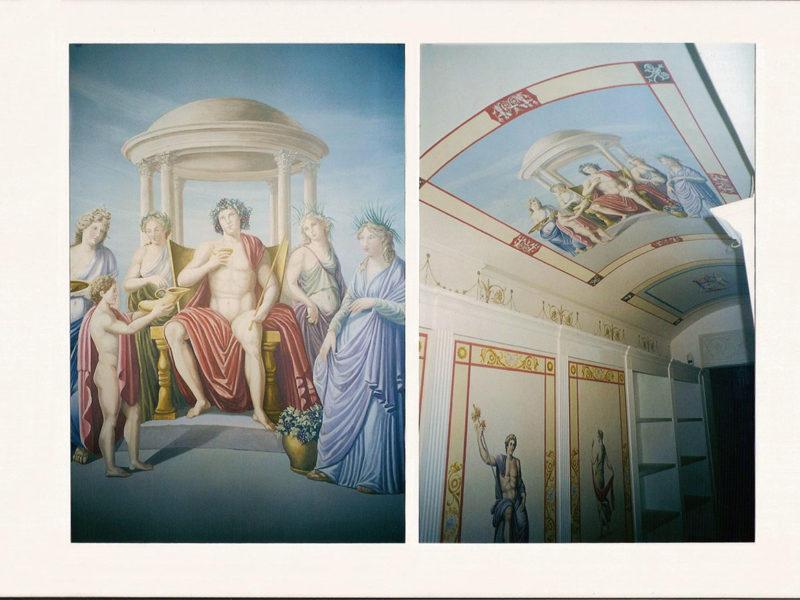 """""""Olimpo"""" Residenza privata Roma. Libreria decorata a grottesche. Acrilico sul legno. Soffitti decorati Acrilico su muro. Mq 80"""