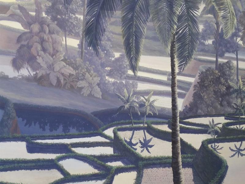 balinese Decò, grande quadro veduta risaie, orientalisti, Veduta, acrilico su tela