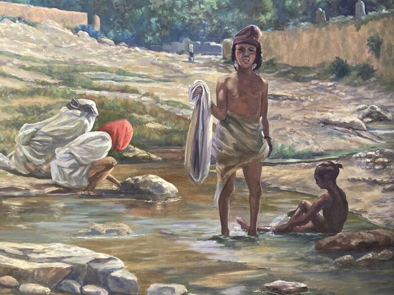 fanciulli al fiume, fanciulli marocchini al fiume, acrilico su tavola, paesaggio marocchino, vista della Valle del Draa, paesaggio orientalista, valle con villaggio berbero