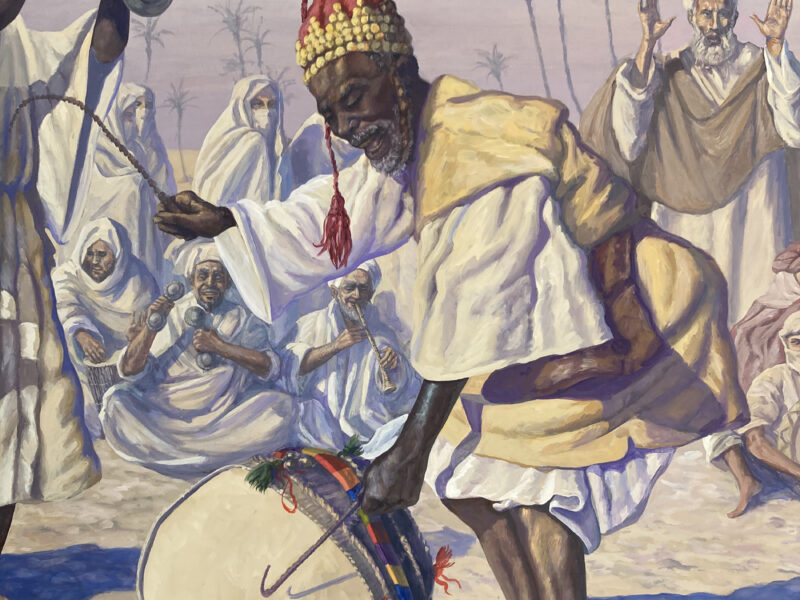 """""""Gnaoua Festival"""", quadro orientalista, veduta del deserto, musicisti di Gnaoua, strumenti musicali marocchini, tecnica mista, acrilico su tavola,dipinti ad acrilico su tavola"""
