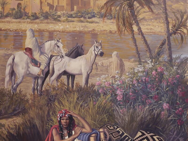 acrilico su tela, orientalisti, palmeto, Residenza privata Marrakech Marocco, tecnica mista, veduta orientalista, mercato berbero, villaggio berbero, venditrice berbera, cavalli berberi, tappeti berberi