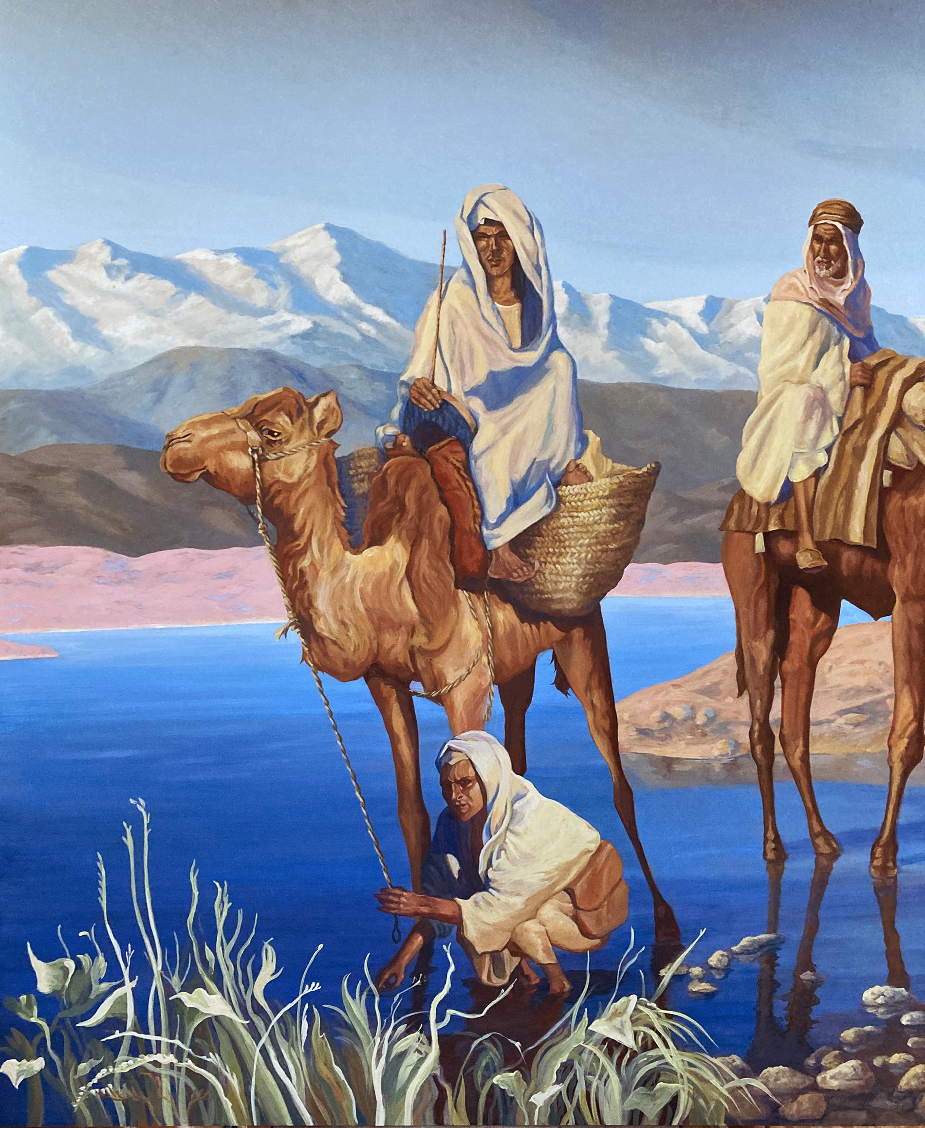 oasi con cammelli, acrilico su tavola, dipinti ad acrilico su tavola, cammellieri del deserto, quadro orientalista, paesaggio marocchino, tecnica mista, veduta del deserto con oasi, veduta del deserto con oasi, veduta del deserto con montagne dell' Atlas