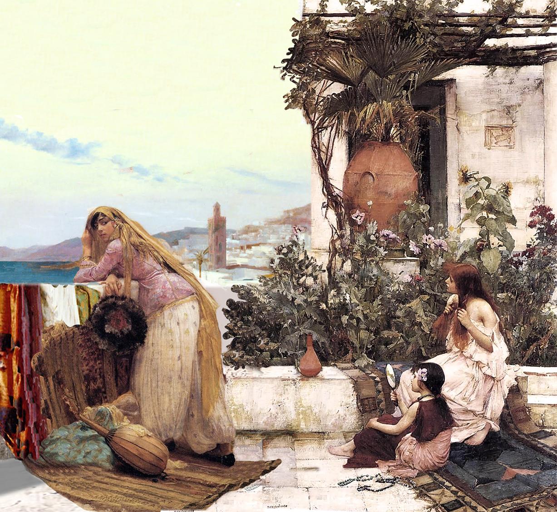 crilico su tela, liuto marocchino, musiciste, orientalisti, residenza privata Casablanca Marocco, tecnica mista, odalische,