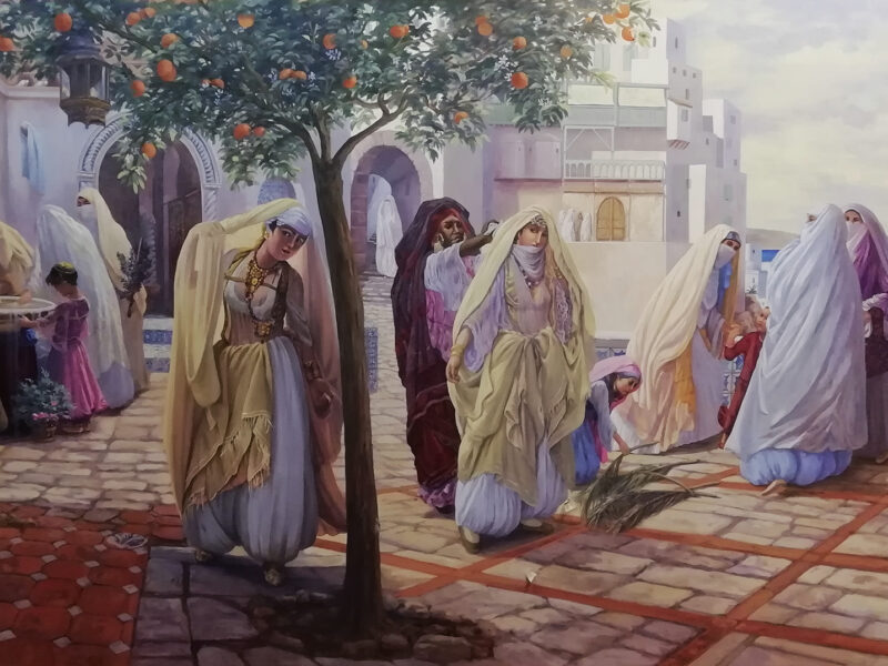 acrilico su tela, residenza privata Casablanca Marocco, tecnica mista, odalische, paesaggio marino del marocco, quadro orientalista, veduta marina orientalista