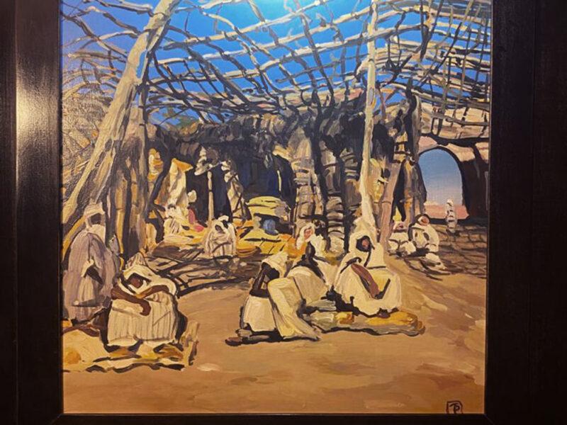 acrilico su tela, albergo in montagna Marocco, albergo Marocco, quadri per albergo inspirati a Majorelle, quadri per arredamento, tecnica mista